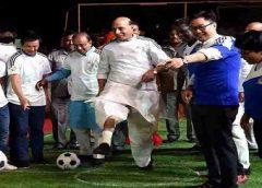 Rajnath singh football kick