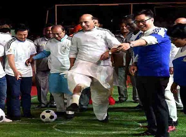 Rajnath singh football kick