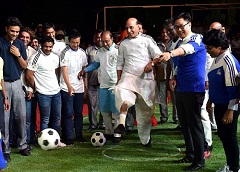 The Union Home Minister, Shri Rajnath Singh inaugurating the Curtain Raiser event 'Oorja', a U-19 Football Talent Hunt Tournament , organised by the Central Armed Police Forces and Central Police Organisation, in New Delhi on April 22, 2017. The Minister of State for Youth Affairs and Sports (I/C), Water Resources, River Development and Ganga Rejuvenation, Shri Vijay Goel, the Minister of State for Home Affairs, Shri Kiren Rijiju and other dignitaries are also seen.